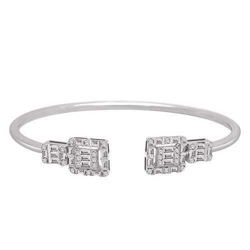 OMEGA JEWELLERY IGI Certified 1.03 CT Ronda y Forma de Baguette Diamante Real 18K Oro sólido Halo Style Bypass Brazalete Pulsera