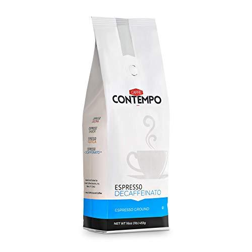 CAFFÉ CONTEMPO DECAF Italian Style Espresso, Water Process Decaffeination, 1 LB Fine Grind, Dark Roast, Freshly Roasted Coffee