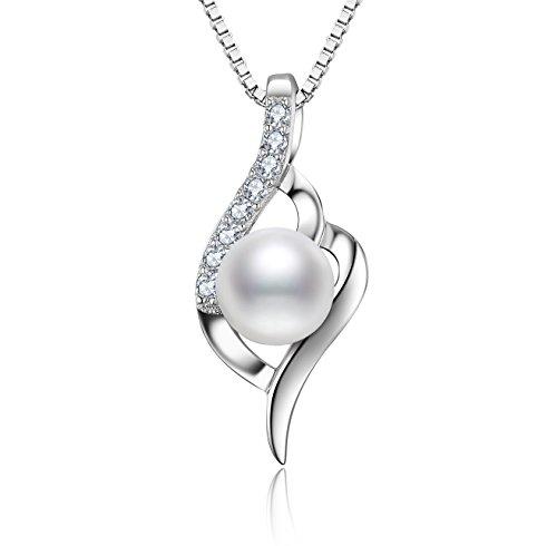 J.Vénus Kette Damen Perle Halskette Anhänger 925 Sterling Silber 5A Zirkonia Twist, Schmuck mit Geschenkbox, 45CM Kettenlänge