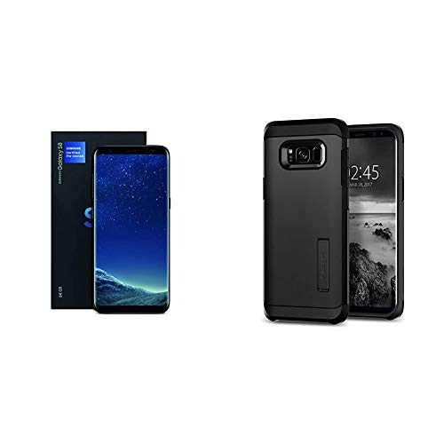 Samsung Galaxy S8, 64GB, Midnight Black - Fully Unlocked (Renewed Premium) & Spigen Tough Armor Galaxy S8 Case with Kickstand and Extreme Heavy Duty Protection and Air Cushion Technology - Black