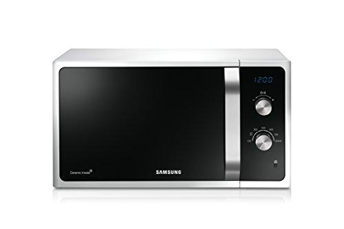 Samsung MS23F301EAW/EG Mikrowelle / 800 W / 23 L Garraum / Weiß / Auftauprogramm / Triple Distribution System / Keramik-Emaille-Innenraum