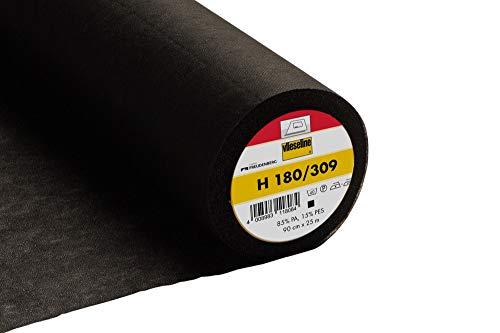 Vlieseline H180 zum Aufbügeln, sehr weich, leicht, H180, Black (309), Half Metre x 90cm