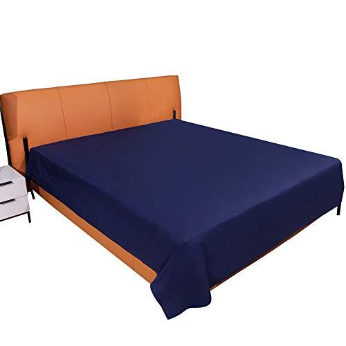 ComfortAce Klassische Bettlaken Haustuch Betttuch 150x260 aus 100% Baumwolle Leintuch Blau