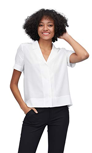 LilySilk Silk Shirts for Womens and Ladies Sexy V Neck Half-Sleeve Notch Button Front Casual Longer Back White M