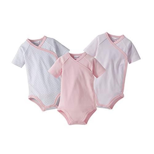 Bornino Wickelbodys Kurzarm Mouse & Elephant (3er-Pack) - Baby-Bodys mit Druckknöpfen aus Reiner Baumwolle - 1x unifarben + 2X Allover-Print