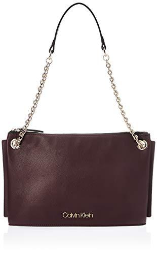 Calvin Klein Damen Chained Conv Shoulderbag Umhängetasche, Rot (Merlot), 50x19x28 centimeters
