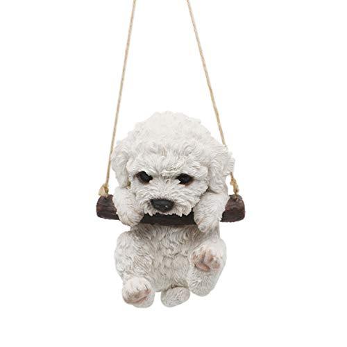 CITONG Skulptur Pudel Hund Figur hängende Gartenstatue, Bürodekoration, lustiges Geschenk (weißer Pudel)
