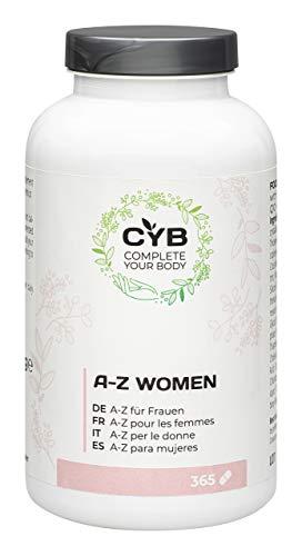 CYB A-Z Vitamine und Mineralien für Frauen – Mit Calcium, Eisen, Folsäure und mehr – 1 x 365 Tabletten