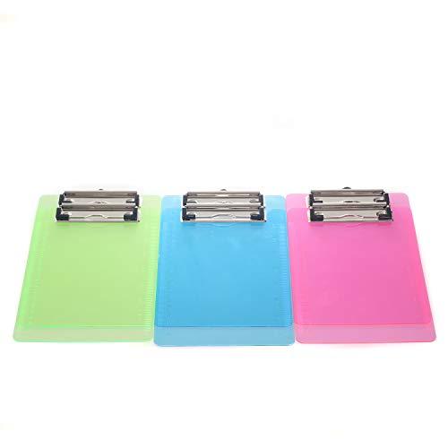 6er Klemmbrett A5 mit gummierter Metalklemme, Schreibbrett DIN A5 mit Aufhängeose, Pad Halter Clipboard - Transparent Kunststoff - 6er Schreibblock Set in 3 Farben - TKD8021