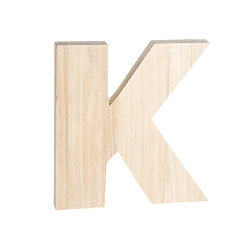 Darice Unfinished Wood Letter: K, 8 x 8 inches, Natural