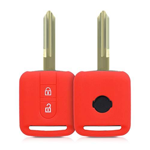 kwmobile Funda de Silicona Compatible con Nissan Llave de Coche de 2 Botones - Carcasa Suave de Silicona - Case Mando de Auto Rojo