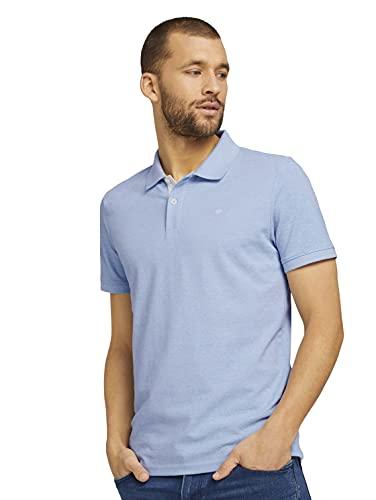 TOM TAILOR Herren 1016502 Logo Polohemd, 26724-Dusk Blue White Melangé, XXL