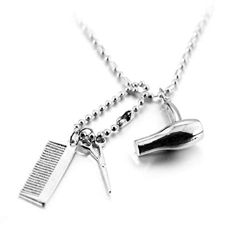 WYFLL Haartrockner Schere Kamm Anhänger Herren- Und Damenschmuck Mode Zu Kühlen Friseur Halskette Personalisierte Accessoires Schmuck