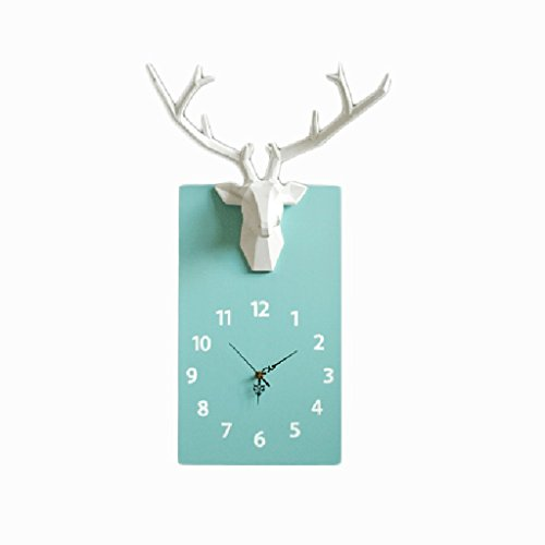 Clock LINGZHIGAN Northern Europe Simple 3D Stereo Lutou Wall Solid Wood Silent Living Room Bedroom Decoration Quartz (Color : Blue, Size : Small)