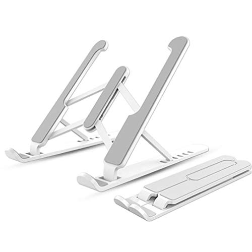 OCGDZ Portable 7-speed Adjustable ABS Laptop Stand 3-color Non-slip Cooling Stand Folding Stand (Color : White)