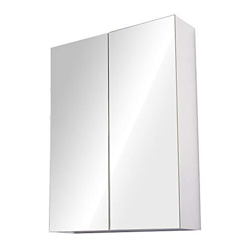 HOMCOM Wall Mount Mirror Cabinet Bathroom Storage 3-Tier Shelf Inside Double Door (60Wx15Dx75H (cm))