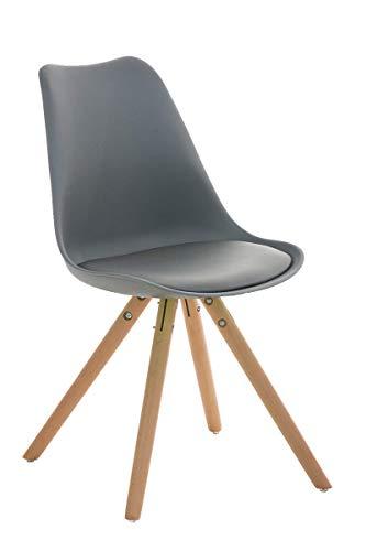 CLP Retrostuhl PEGLEG mit hochwertiger Polsterung und Kunstlederbezug I Schalenstuhl mit Holzgestell und Einer Sitzhöhe von: 46 cm, Farbe:grau, Gestell Farbe:Natura
