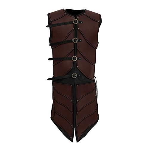 Andracor - Lederrüstung Elfenkrieger - Majestätische Echtlederrüstung mit Beinschutz für LARP, Cosplay & Mittelalter in Braun
