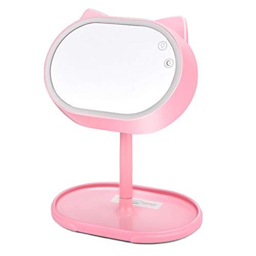 Miroir de maquillage GCX à LED avec Lampe Miroir de dortoir Repliable pour éclairage d'appoint La Mode (Color : Pink)