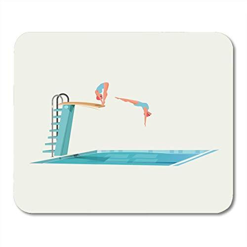 Mauspads Weiß Schwimmen Blau Pool Sport Frauen Stehend auf Sprungbrett Vorbereitung zum Springen und Tauchen Buntes Hochtiefes Mauspad für Notebooks, Desktop-Computer Büromaterial