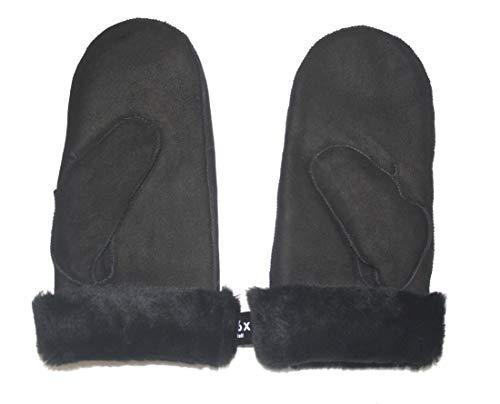 Lammfell Handschuhe Fäustlinge aus Australischen Premium Lammfell SCHWARZ mit schwarzen Lammfell, Damen Größenbeschreibung siehe Produktbeschreibung (M, Schwarz)