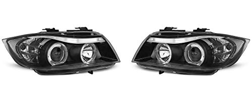 Headlights VR-1196 Front Lights Car Lamps Car Lights Headlamps Driver And Passenger Side Set Headlight Assembly Angel Eyes Black compatible with Bmw 3 Series E90 E91 2005 2006 2007 2008Sedan Touring