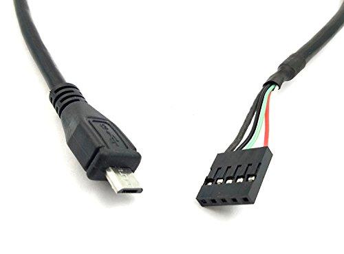 duttek (lote de 2) 50cm 5pines placa base hembra a Micro USB macho adaptador extensor de DuPont cable (5pines, micro USB)