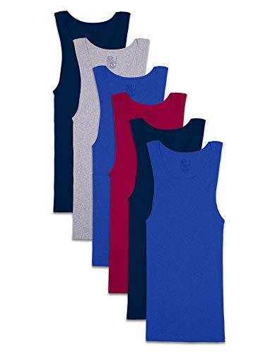 Fruit of the Loom Men's Tag-Free Tank A-Shirt, 6 Pack - Assorted Colors, X-Large