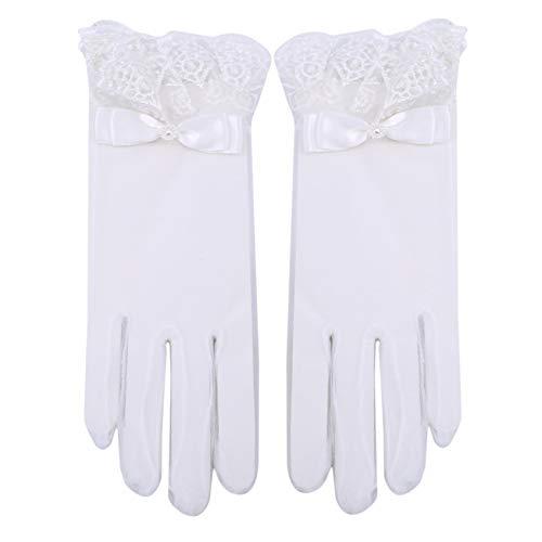ZHDXW Hochzeitshandschuhe Frauen Klassische Handschuhe Damen Vintage Spitzenhandschuhe Weiße Brauthandschuhe Dünne Atmungsaktive Handschuhe Touchscreen-Handschuhe