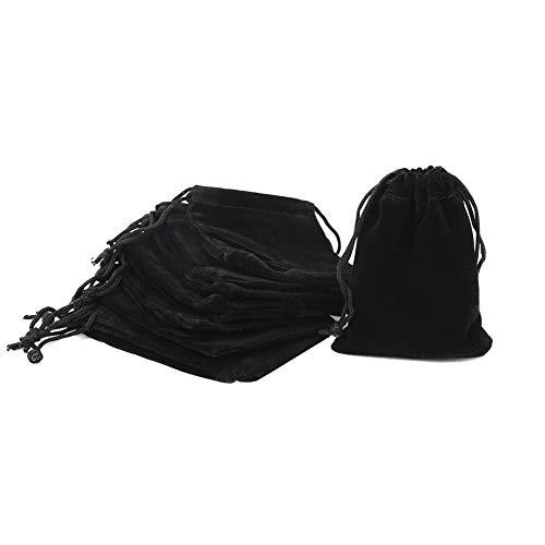 Shintop 10 Stück Schmuckbeutel Samt, Samtsäckchen Samtbeutel Geschenksäckchen für Schmuck und Geschenk-Verpackung (Schwarz)