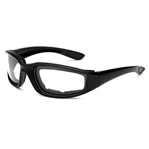 Binghotfire Gafas de Moto a Prueba de Viento Hombres Vintage Retro UV Moto Gafas de Motor Negro y Blanco