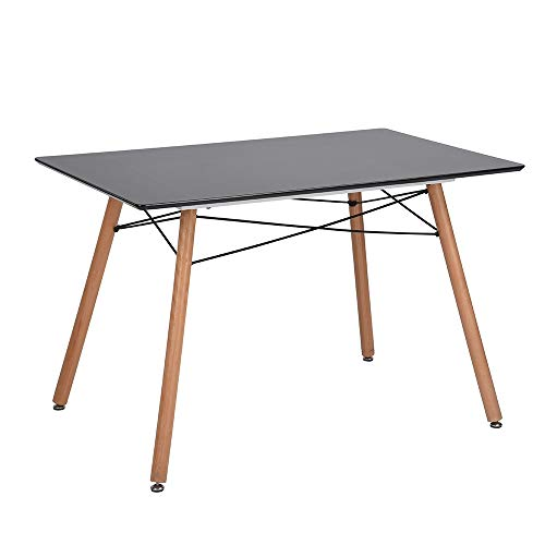 Homy Casa Modern Dining Table Rectangular Top with Quadrate Solid Wood Legs 4 People Maximum Tea Coffee Leisure Pedestal Table Desk for Kitchen and Dining Room Grey