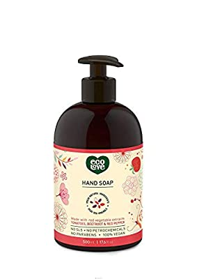 ecoLove Liquid Hand Soap with Organic Tomato Beetroot and Red Pepper, Cruelty Free and Vegan Natural Hand Soap, SLS Free Sulfate Free, 17.6 oz