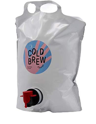 3 Liter Good Spirits Bio Cold Brew Coffee Pure Black Ethiopia Kaffee Kaltgetränk aus Spezialitätenkaffee Stand Up Pouch mit Zapfhahn für lange Haltbarkeit und Geschmack