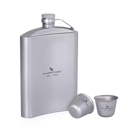 iBasingo Hip fles 8.5oz/250ml Titanium fles Sake Cup Set met trechter Outdoor Camping Picknick Pocket Alcohol Whiskey…