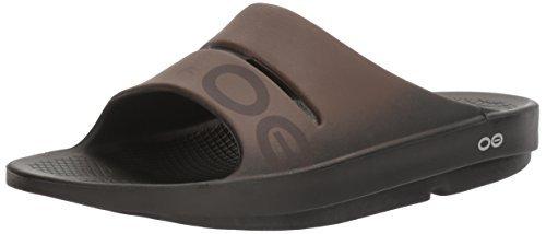 OOFOS Mens and Women Unisex Ooahh Sport Slide Sandal, Black/Brown, 8 B(M) US Women/6 D(M) US Men