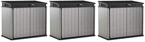 KETER Elite Store 4.6 x 2.7 Foot Resin Outdoor Storage Shed with Easy Lift Hinges, Perfect for Trash Cans, Yard Tools, and Pool Toys, ft, Grey & Black (Тhree Pаck)