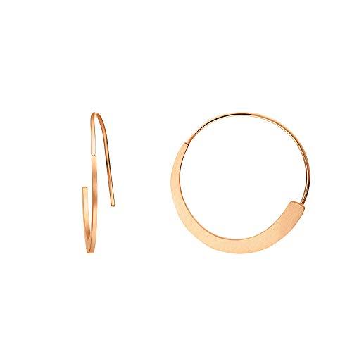 Heideman Ohrringe Damen Curve aus Edelstahl silber poliert gold oder rosegold farbend matt Ohrstecker Creolen hängend für Frauen rosévergoldet ho24746-8