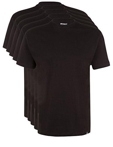 Ultrasport Herren Sport Freizeit T-Shirt mit Rundhalsausschnitt 5er Set, Schwarz, L