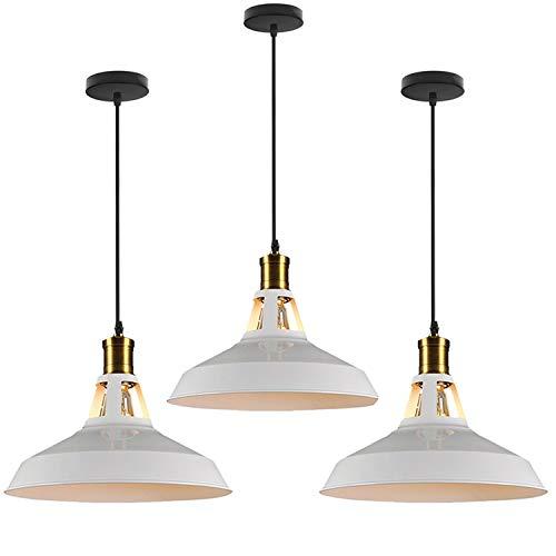 3PCS Lámparas de Colgantes Industrial Vintage Φ27cm de Bombillas E27 para Comedor, Barra, Café, Blanco