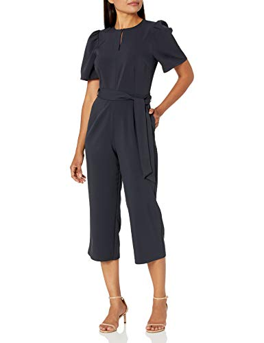 Amazon Brand - Lark & Ro Women's Puff Sleeve Split Neck Belted Crop Length Jumpsuit, DARK NAVY, 14