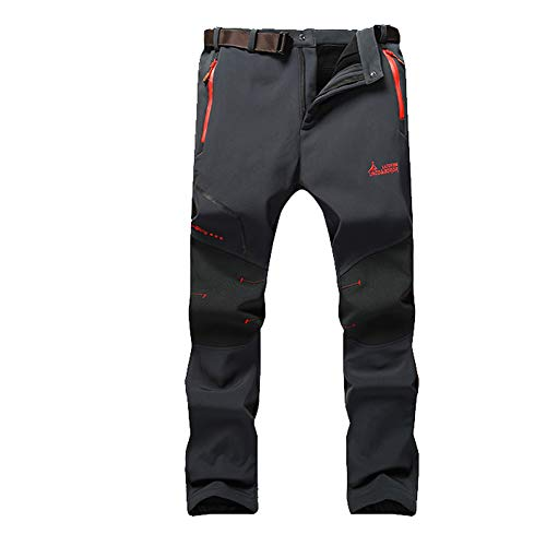 JIANYE Pantalon Softshell Hombre Pantalones de Montaña Impermeable Pantalon Trekking Caliente Pantalones Invierno Gris XS