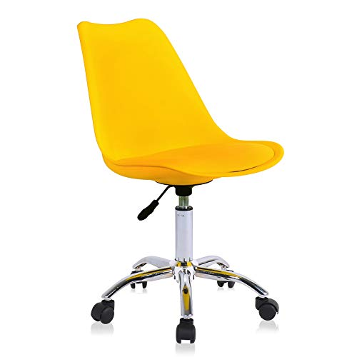 Zoyo Kids Desk Chair Yellow Office Chair Armless Computer Chairs Ergonomic Conference Adjustable Height Computer Work Chair (Yellow)