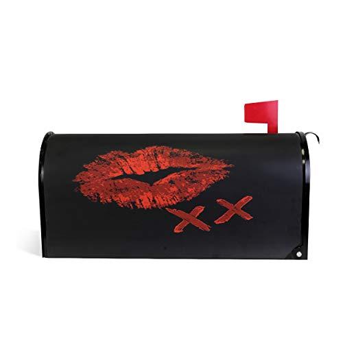 Wamika Rouge lèvres Kiss Boîte aux Lettres Coque météo magnétique Fade/résistant aux intempéries Noir Bouche décoratifs Boîte aux Lettres Wrap 64.7 * 52.8 cm 52.6 * 45.8cm Multicolore