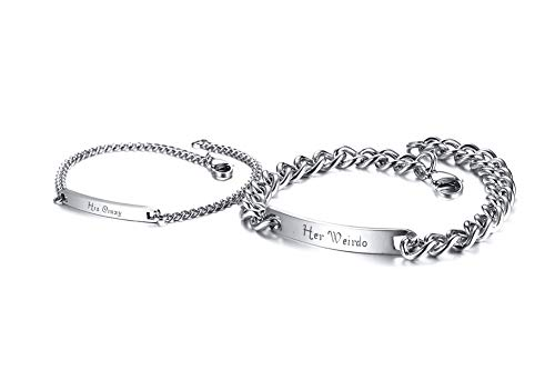 PJ JEWELLERY His Crazy Her Weirdo Engraved Stainless Steel Bar Bracelet for Couples Name ID His or Her Link ID Bracelet Promise Gift Matching Lover Bracelet