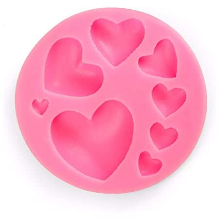 UG LAND INDIA Silicone Mold Tray 8-Cavity Different Sizes Love Heart Shape Suitable for Fondant, Gum Paste, and Chocolate (Multicolor)