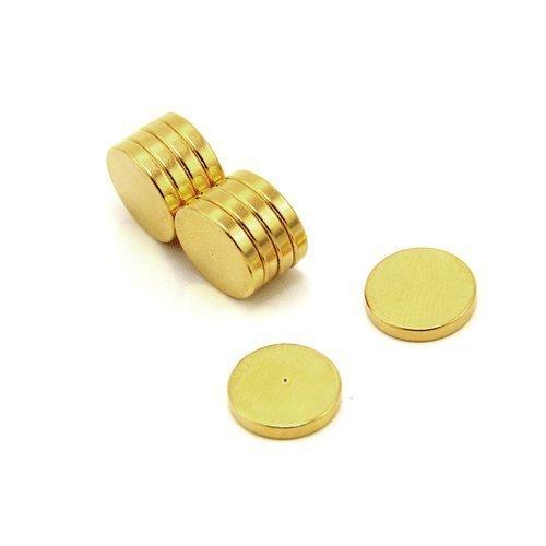 Magnet Expert Ltd - Imanes en forma de disco para terapias (12 x 2 mm, N42, enchapados en oro, neodimio, 10 unidades)