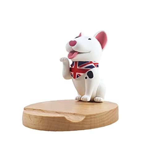 Creativa linda del teléfono celular del perro del estilo del soporte del teléfono inteligente de la tableta del teléfono móvil de madera Montaje del soporte Bull Terrier totalmente adaptado