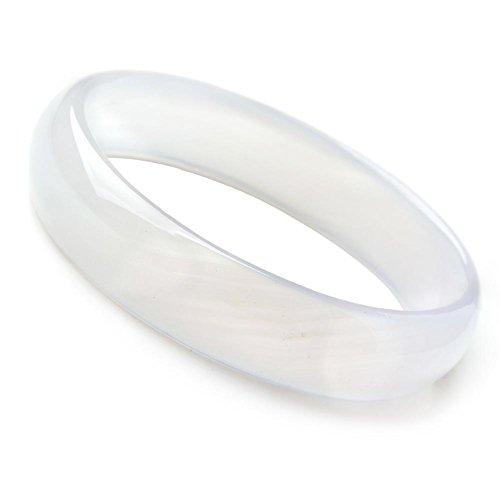 Auspicious Cloud Natural Agate Jade Bangle Bracelet White Color (Medium Size(60-61)) Agate Gemstone Bracelet Bangle