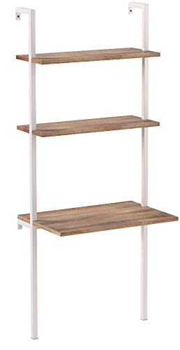 Nathan James Theo 2-Shelf Industrial Wall Mount Ladder, Small Computer or Writing Desk, Rustic Oak/White